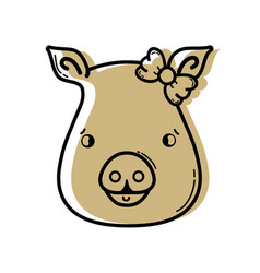 color cute pig female wild animal vector image