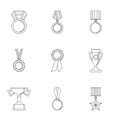 Competition icons set outline style vector