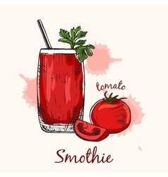 Creative sketch of tomato smoothie in glass with vector