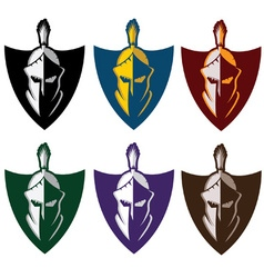 crests with spartan warrior vector image