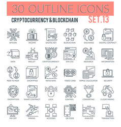 Cryptocurrency and blockchain icons vector