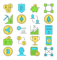 cryptocurrency icon set in colored line style vector image