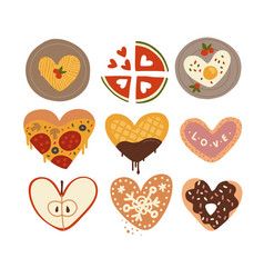 cut differend food in shape a heart vector image