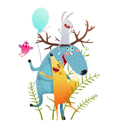 cute moose fox rabbit bird greeting card vector image