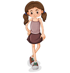 Cute young girl cartoon character vector