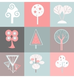 decorative trees icons vector image