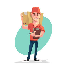 Delivery man courier character hold box vector