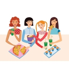 Dinner Party Movie Night With Four Cute Girls vector image