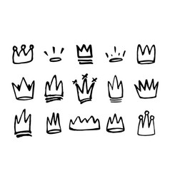 doodles set hand drawn crowns vector image