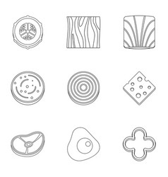 Eco sliced vegetables icon set outline style vector