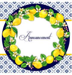 elegant watercolor lemon wreath vector image