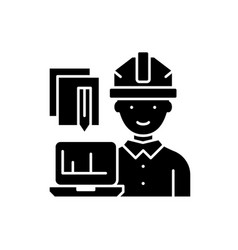 engineer and computer black icon sign on vector image