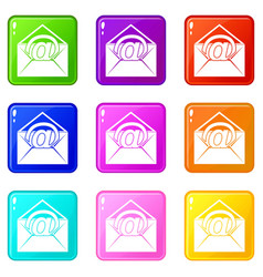 Envelope with email sign set 9 vector