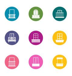 euro window icons set flat style vector image