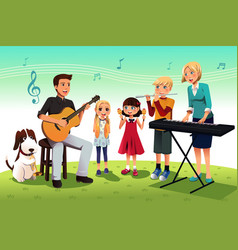 family playing music vector image