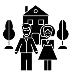 Family with house icon sig vector