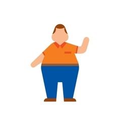 Fat human silhouette flat vector