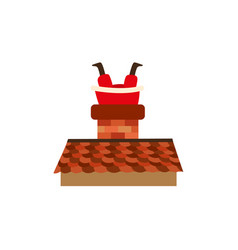 Flat santa stuck in the chimney on the roof vector