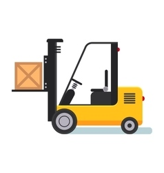 Forklift in Warehouse Flat styled vector image