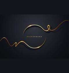 Golden ribbon circle on black background vector