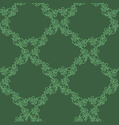 green floral seamless pattern isolated on green vector image
