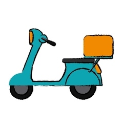 Green motorcycle scooter delivery food drawing vector