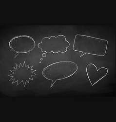 grunge chalk drawn speech bubbles vector image