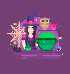 Halloween poster with witch owl cauldron vector