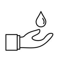 hand save water icon outline style vector image