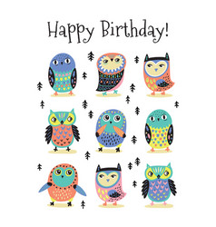 happy birthday card with cartoon colorful owls vector image
