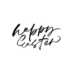 happy easter black calligraphy vector image