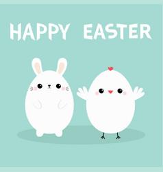 happy easter bunny head face chicken bird set vector image