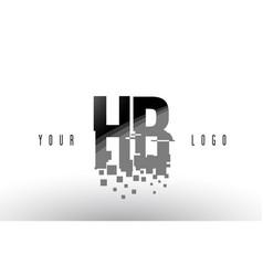 Hb h b pixel letter logo with digital shattered vector