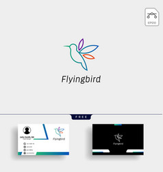 hummingbird colibri flying bird logo template vector image