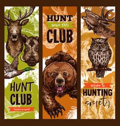 Hunt club open season sketch banners vector