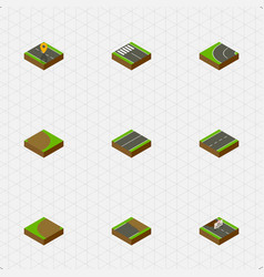 Isometric way set of rotation plane turning and vector