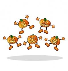 jumping pumpkins vector image