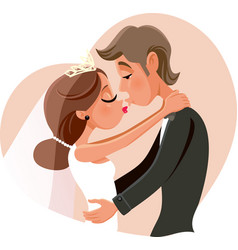 Kissing married couple wedding invitation vector