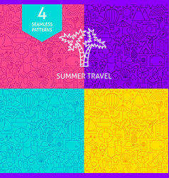 line summer travel patterns vector image