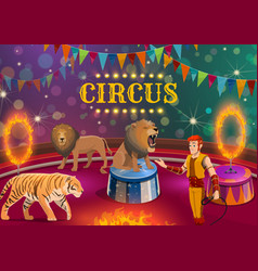 lion and tiger tamer performing on circus arena vector image
