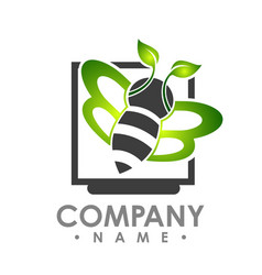 Logo abstract bee flying with green leaf wing vector