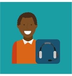 Man afroamerican using laptop heatset media icon vector
