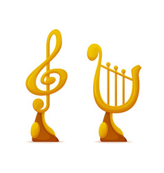 Music award in shape note and harp trophy cups vector