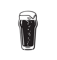 Nonic pint beer glass hand drawn vector