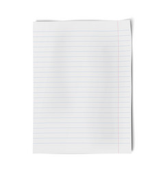Notebook paper isolated on white background vector image