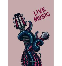 Octopus musician live music rock poster vector