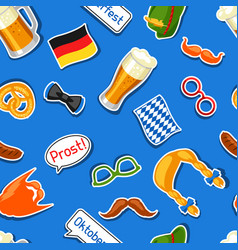 oktoberfest seamless pattern with photo booth vector image