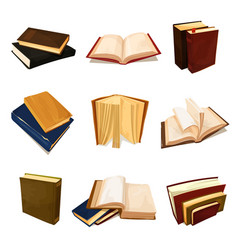 old books set literature and library symbol vector image