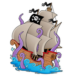 Old pirate ship with tentacles vector