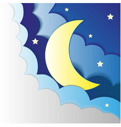 paper sky clouds moon and stars vector image